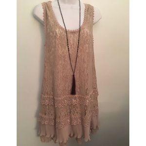 BCBG Lace Ruffle Slip Shift Dress